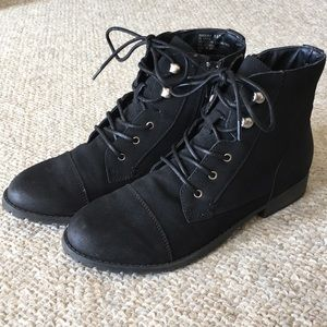 Black Laced Combat Boots- Madden Girl
